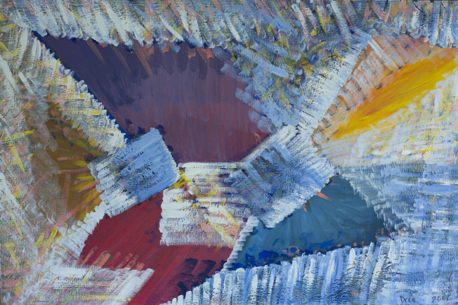Arrival 2002 by Drea Jensen The blue triangles and trapezoids represent peace and joy, a meditation on color and shape. A moment of reconciliation when the body and mind relax into spirit.  http://dreajensengallery.artistwebsites.com/featured/arrival-2002-drea-jensen.html